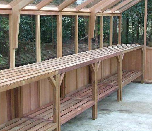 Cedar staging in timber greenhouses