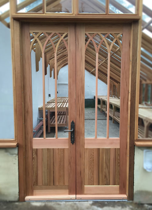 Gothic Styled Wooden Greenhouse Doors