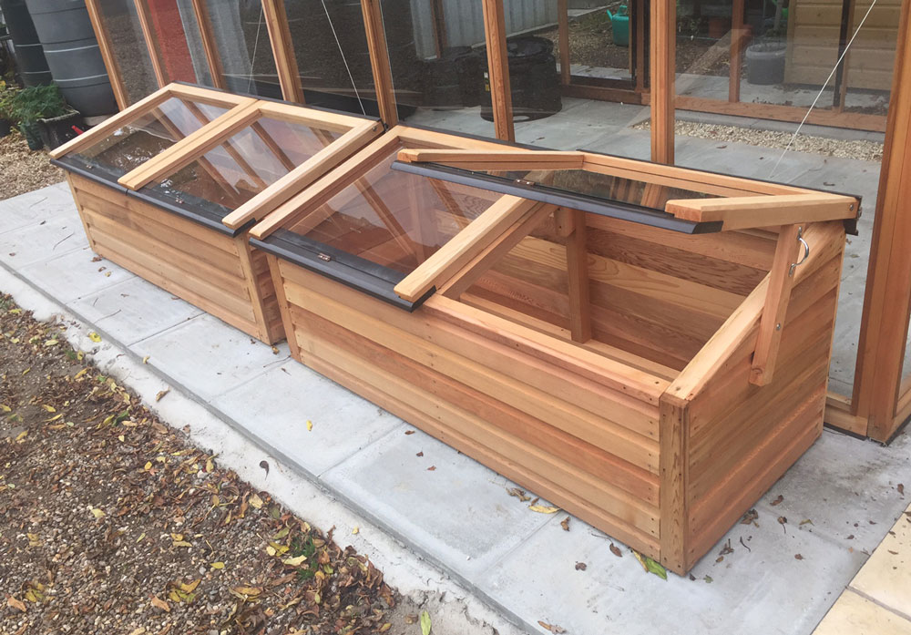 A pair of 4ft x 2ft cedar coldframes