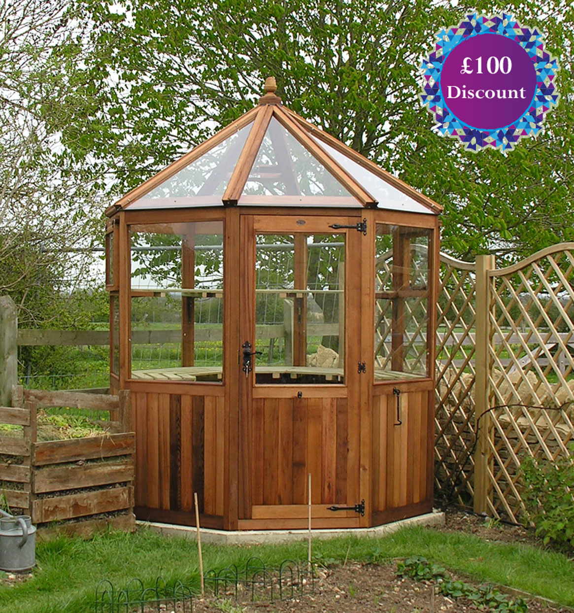 LOXLEY Octagonal Western Red Cedar Greenhouse  6ft4
