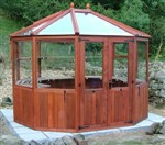 Round wooden greenhouse