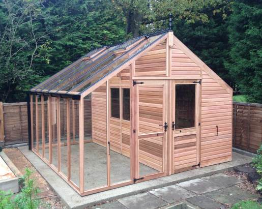 Centaur shed combo greenhouse with shingle roof for Garden shed 12x12