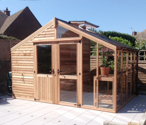 Centaur shed combo greenhouse with shingle roof for Shed and playhouse combo plans