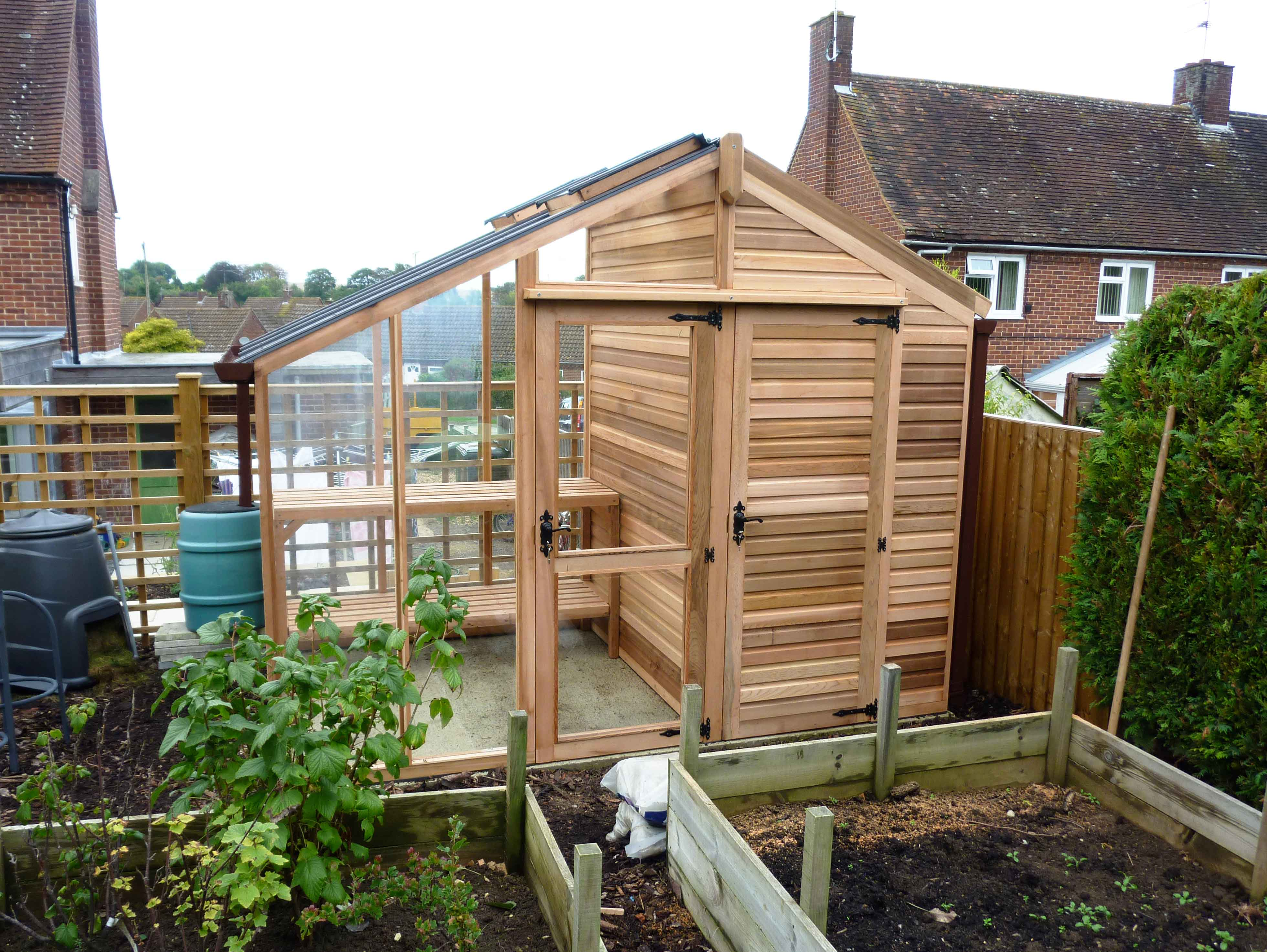 Centaur shed combo greenhouse with shingle roof for Garden shed designs uk