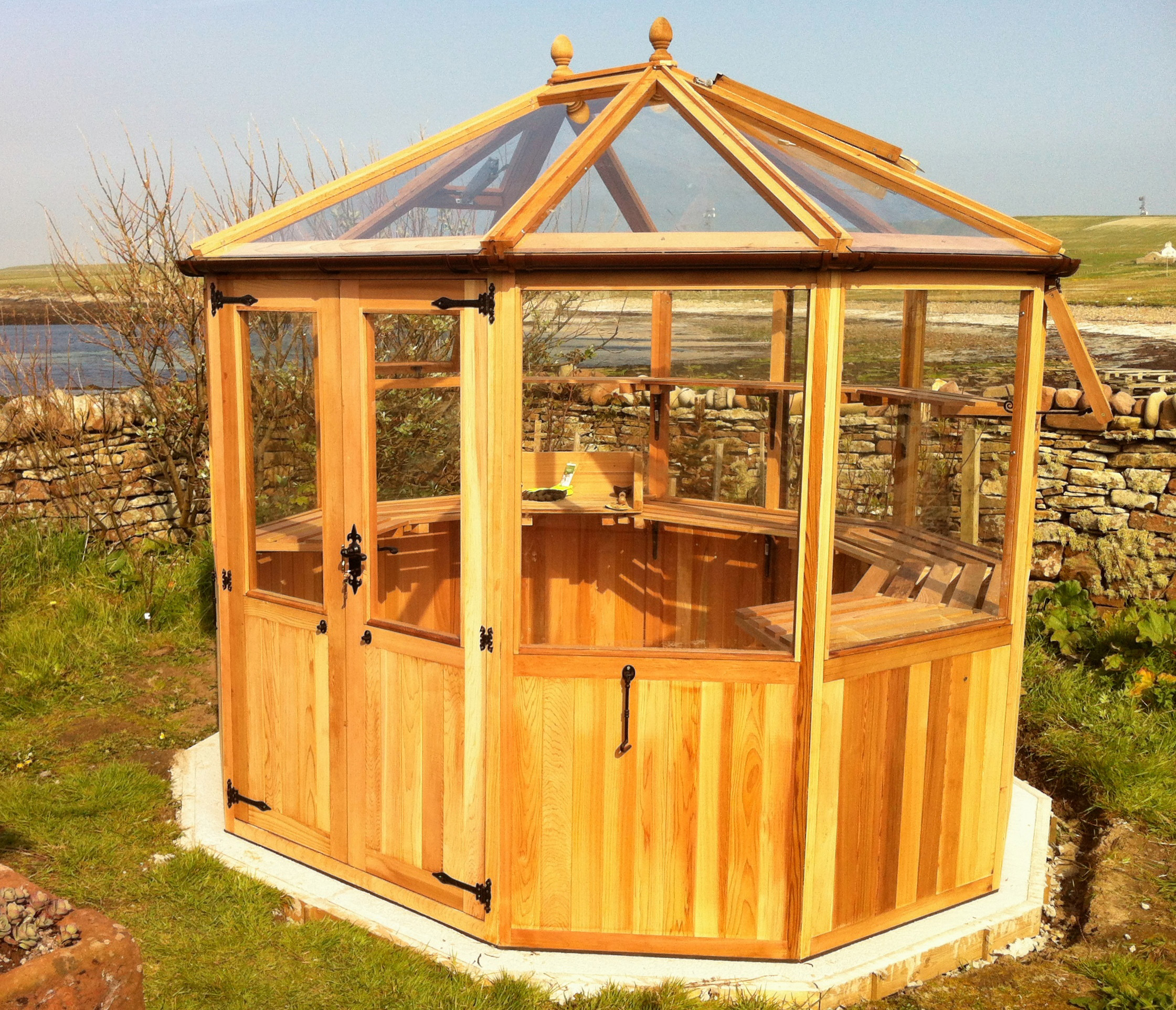 Stramshall Octagonal Cedar Greenhouse Installed