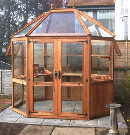 Cedar Greenhouse with tempered glass and panels