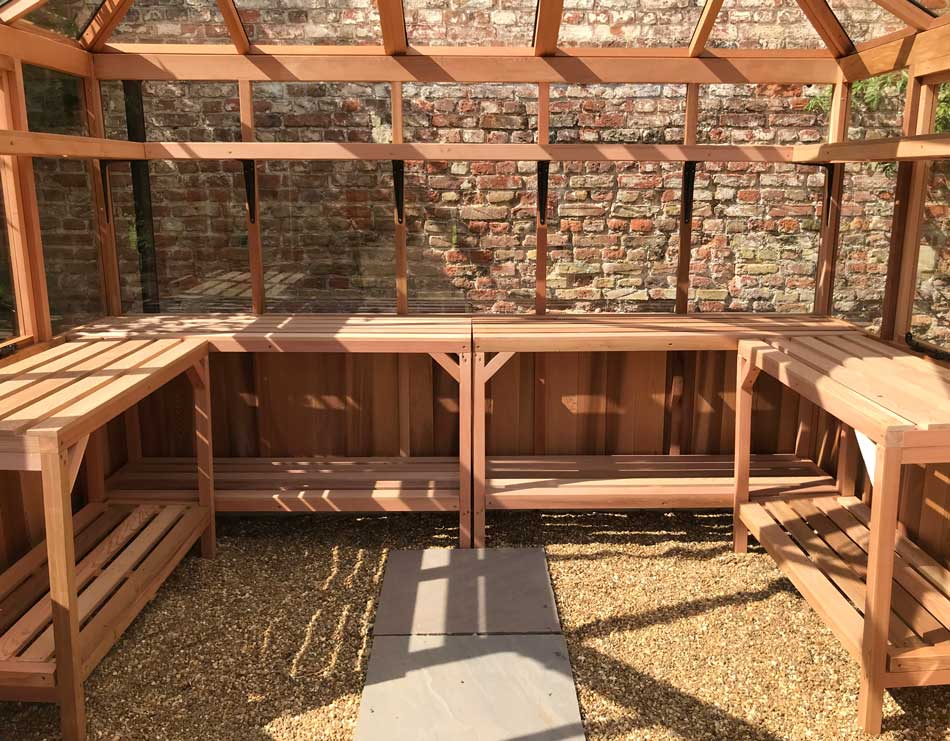 10x8 timber Round Greenhouse The Stramburg fitted with staging
