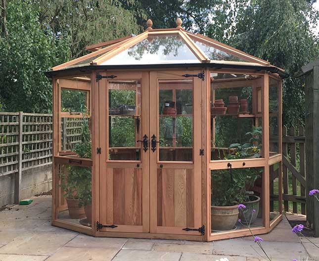 Decagonal Cedar Greenhouse 10ft6 x 8ft6 wooden greenhouse for shaped round building