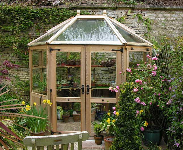 Octagonal Cedar Greenhouse 8ft6 x 6ft6 shaped greenhouse design