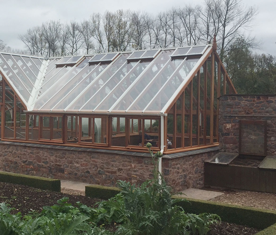 Alutec Guttering fitted on a Woodpecker Joinery Greenhouse