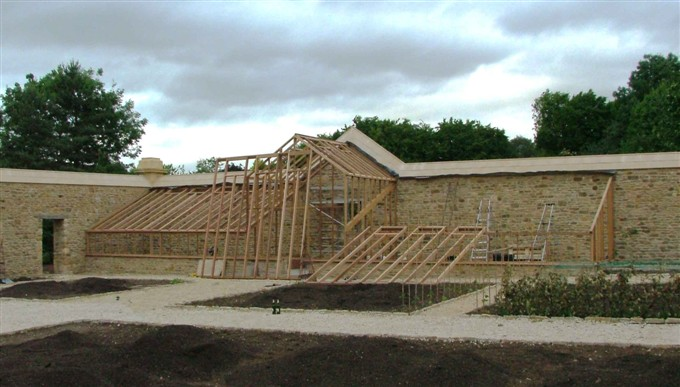60ft x 12ft bespoke greenhouse under construction