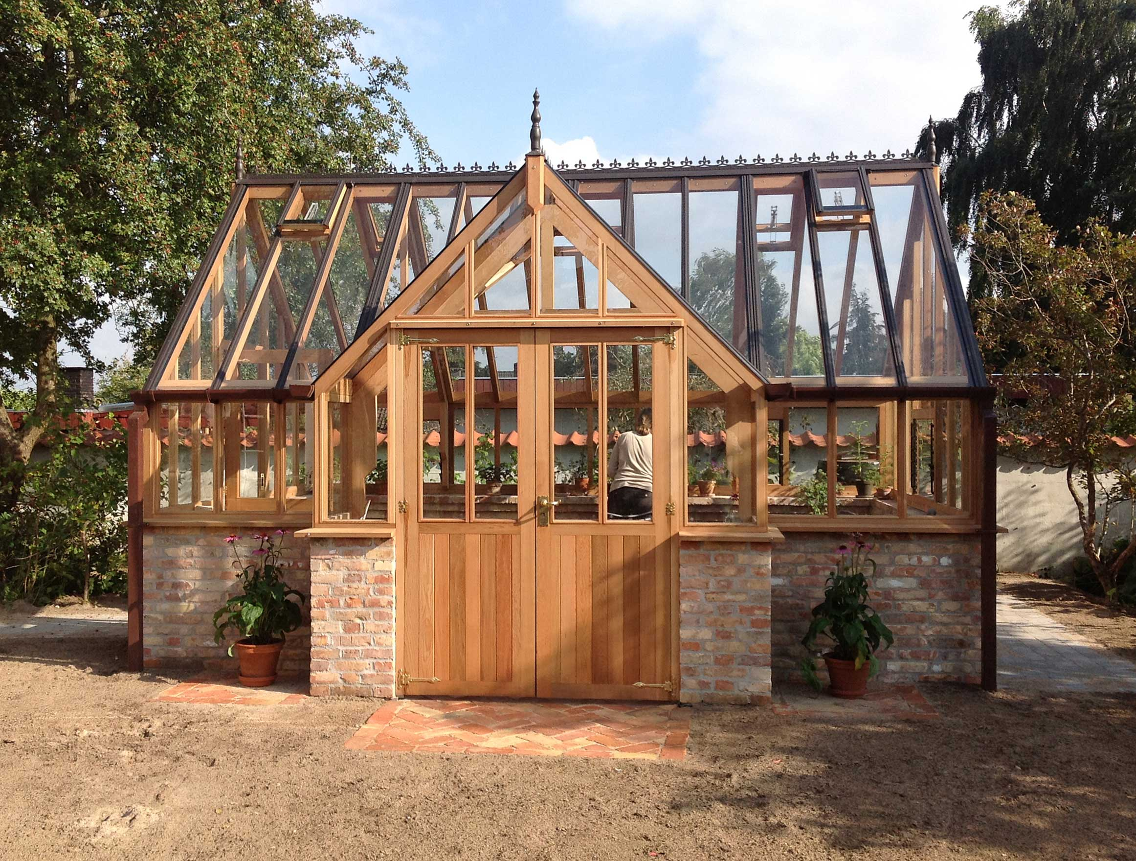 Cedar Greenhouse with Protruding Porch