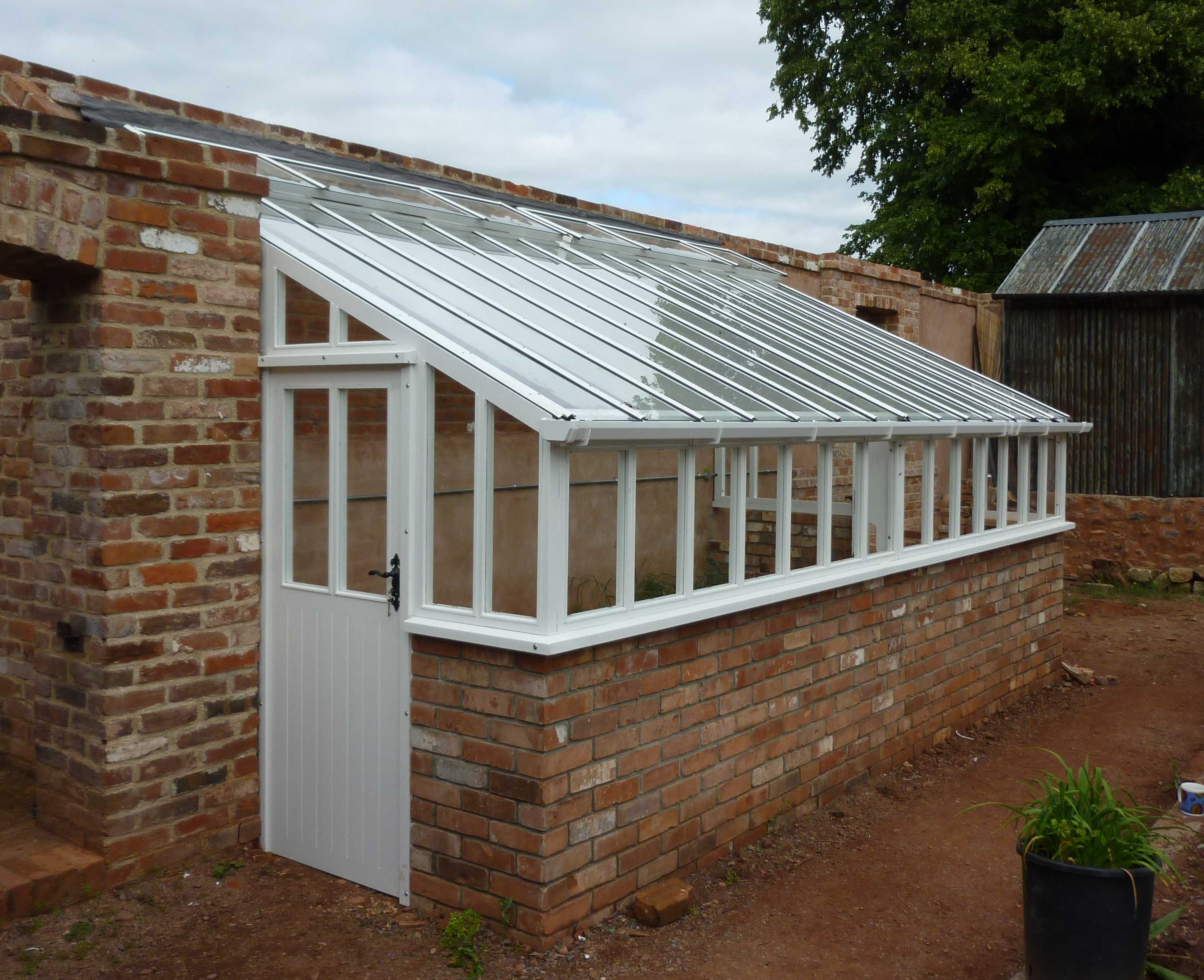 10ft X 16ft Lean To Cedar Greenhouse Painted White Finish