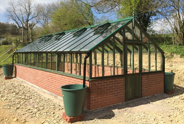Bespoke Timber Greenhouse Holly Green