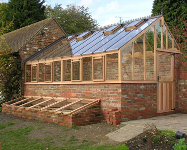 Bespoke Timber Greenhouse Three quarter span design