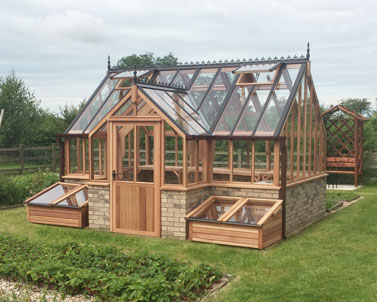 Bespoke timber greenhouse with porches
