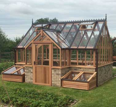 Greenhouses with protruding porch