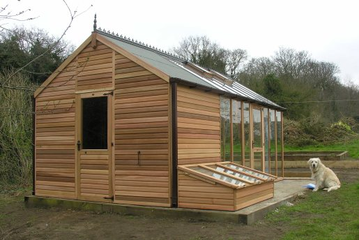 Shed combo greenhouses built in western red cedar shingle Green house sheds