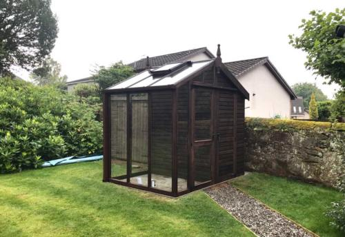 Greenhouse Centaur Style 12ft wide x 8ft Deep Dark brown stain