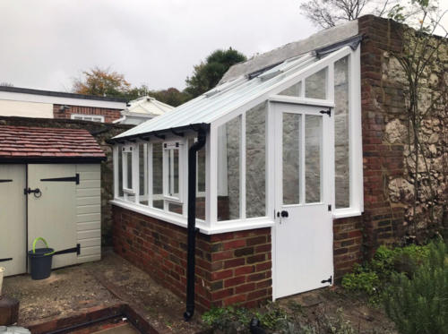 6-x-12-White-Painted-Wooden-Bespoke-Lean-to-greenhouse