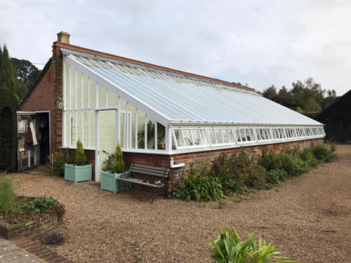 White-Painted-3q-span-wooden-greenhouse